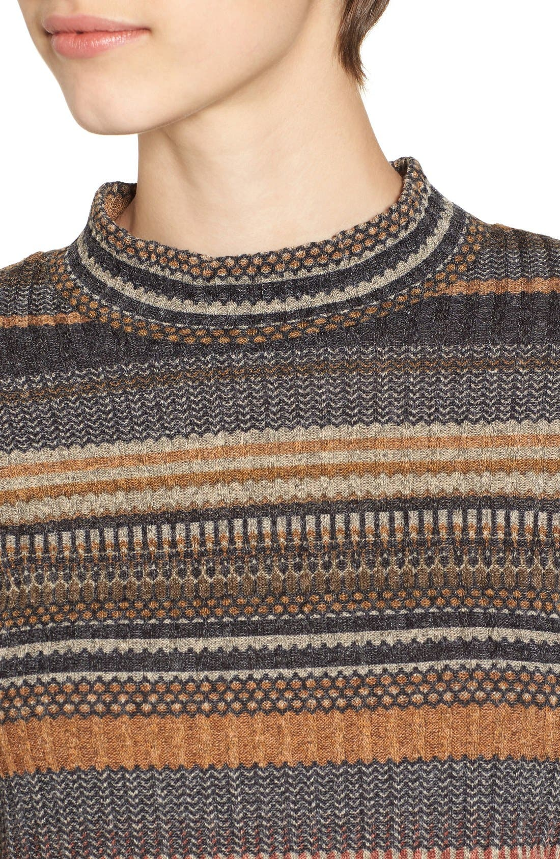 Alternate Image 5  - Mimi Chica Stripe Mock Neck Sweater