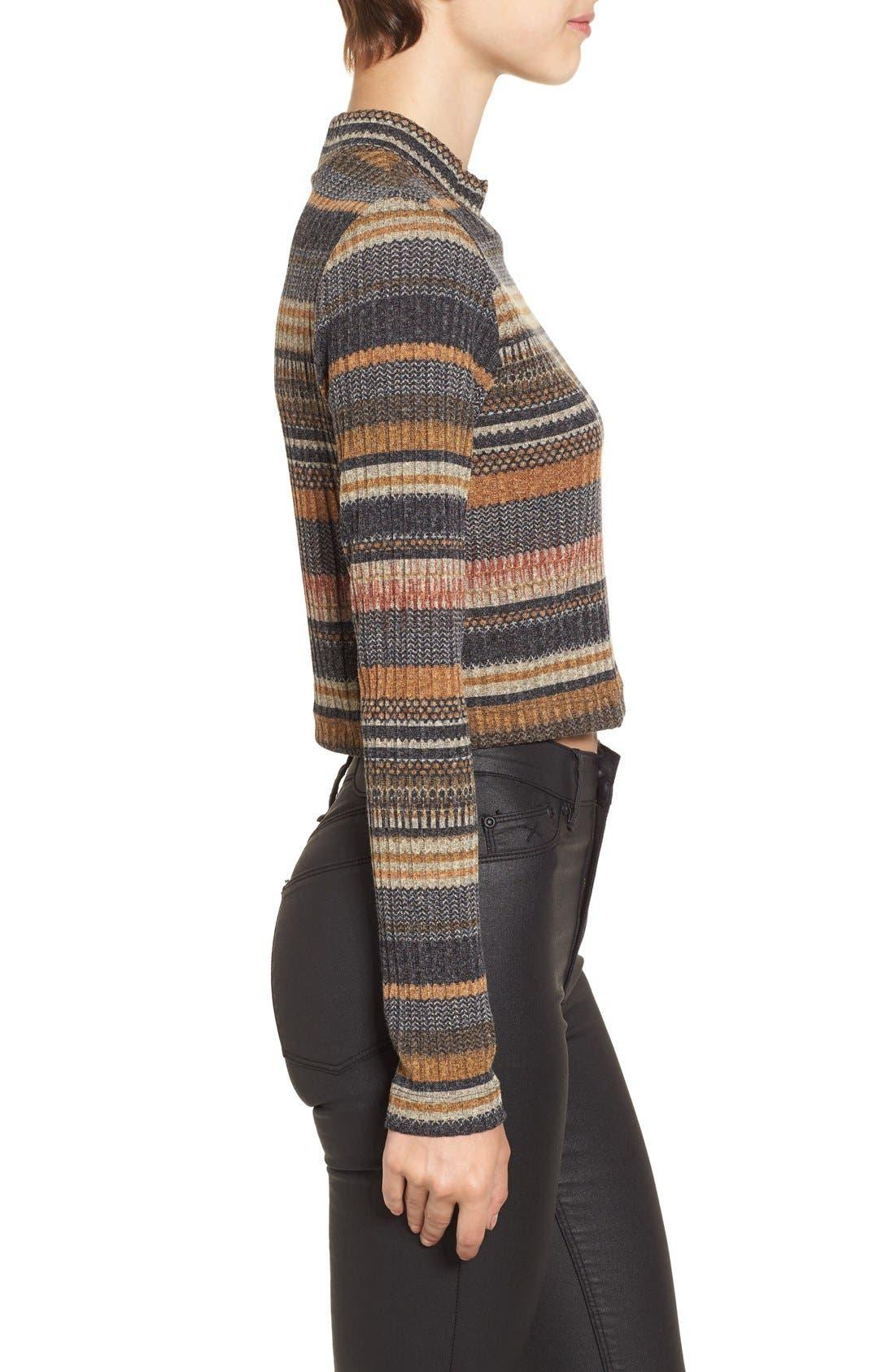 Alternate Image 4  - Mimi Chica Stripe Mock Neck Sweater
