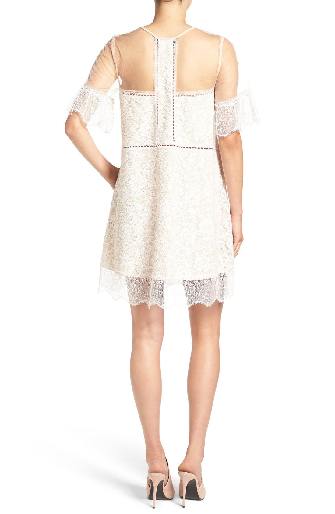 Alternate Image 2  - KENDALL + KYLIE Lace Panel Trapeze Dress