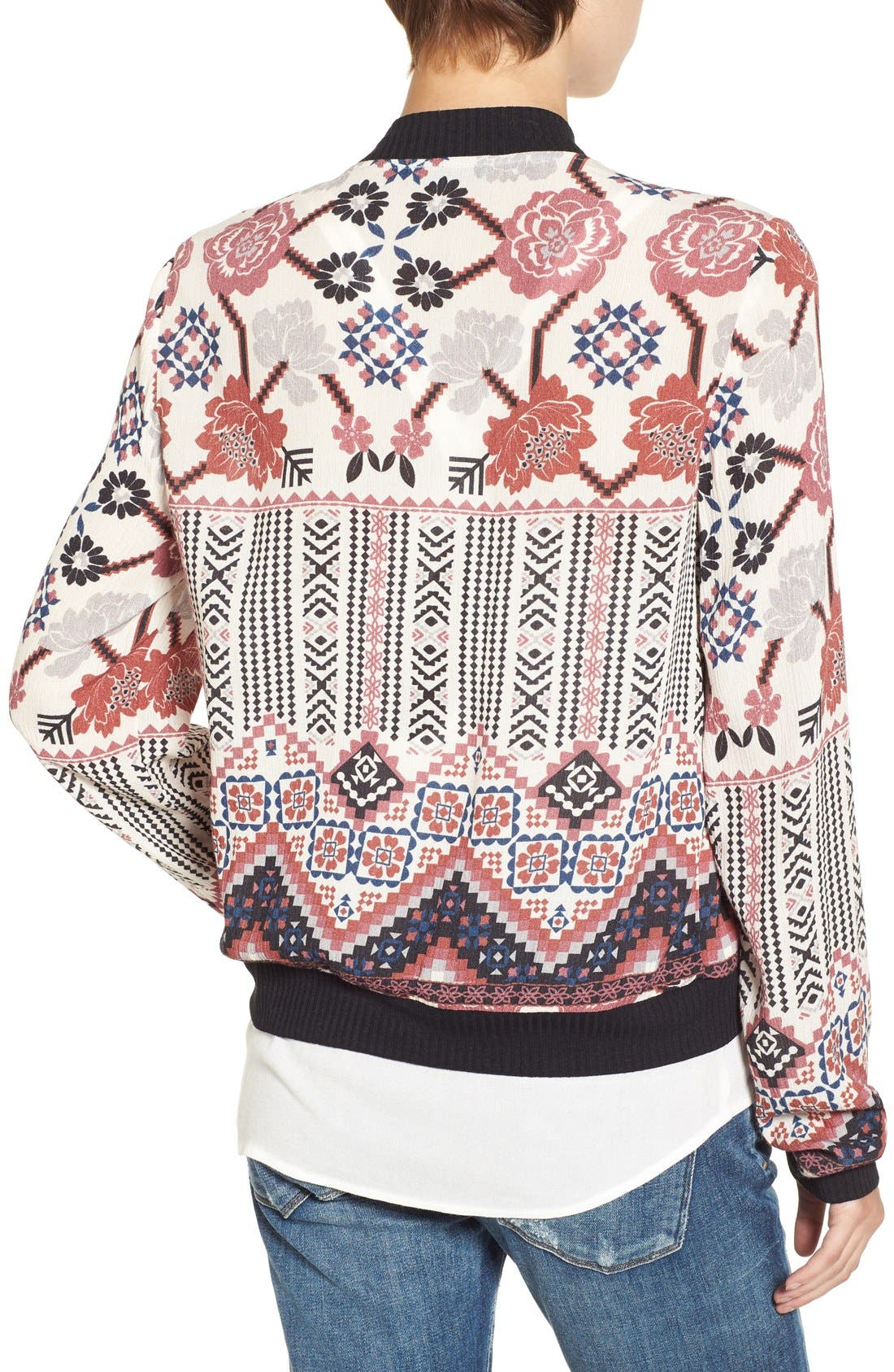 Alternate Image 2  - Chloe & Katie Print Bomber Jacket