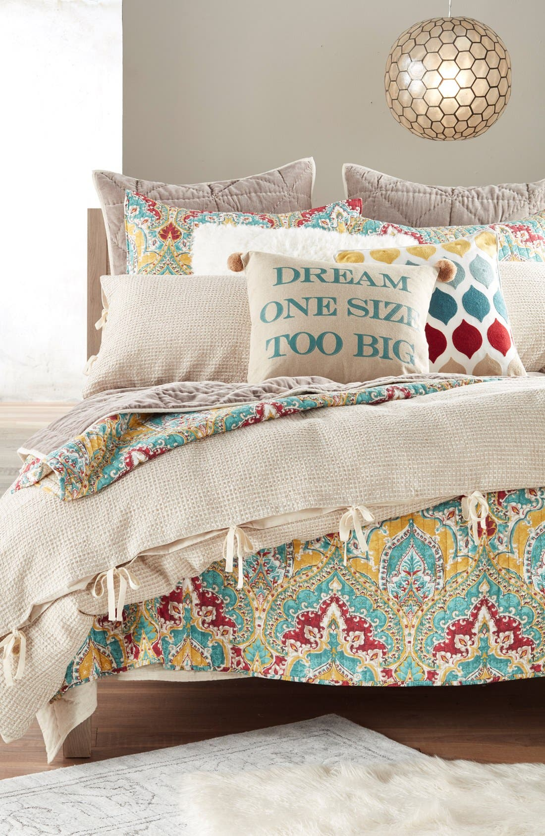 Alternate Image 2  - Nordstrom at Home Waffle Knit Washed Cotton & Linen Duvet Cover