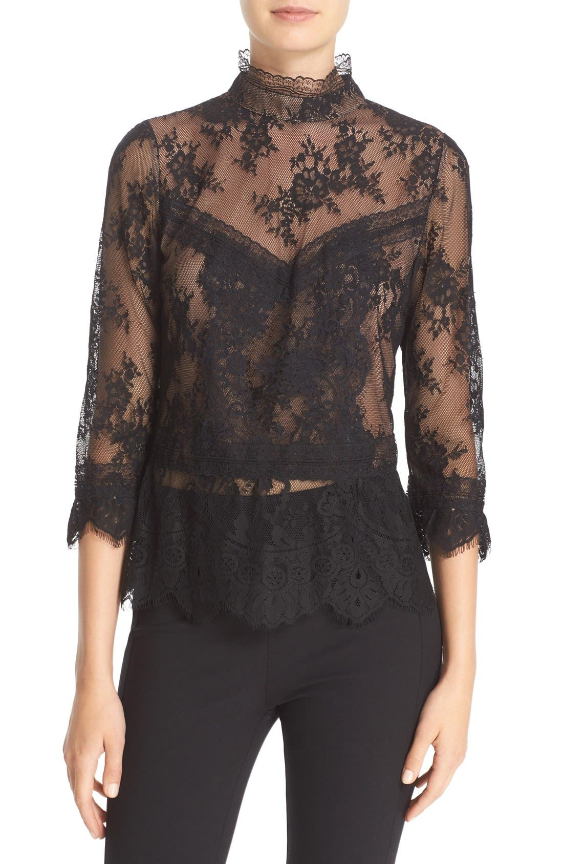 Main Image - Tracy Reese Chantilly Lace Victorian Blouse