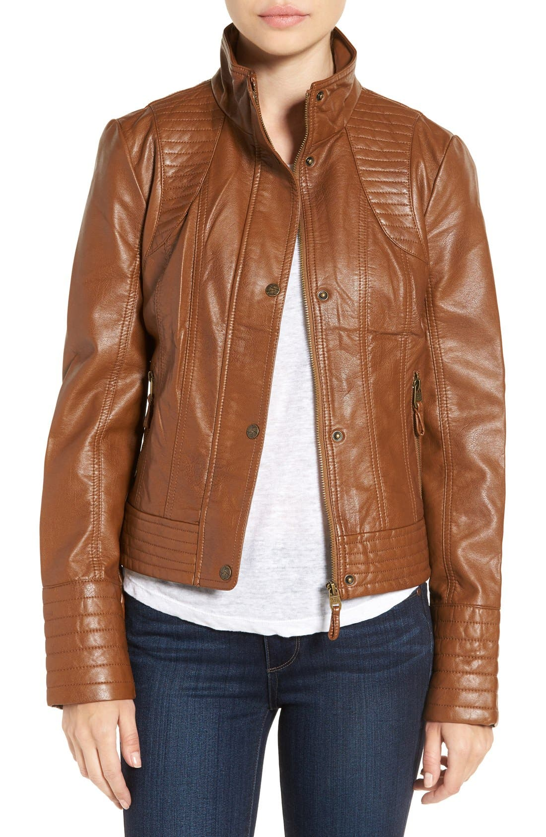 Alternate Image 1 Selected - Jessica Simpson Quilted Faux Leather Jacket