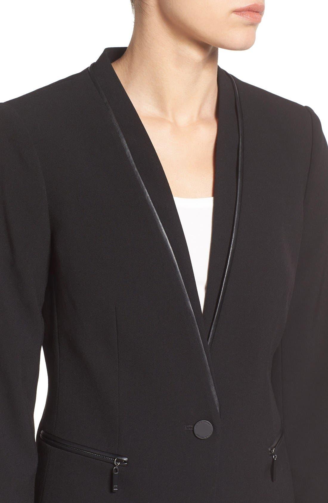 Alternate Image 4  - Ivanka Trump Faux Leather Trim Suit Jacket