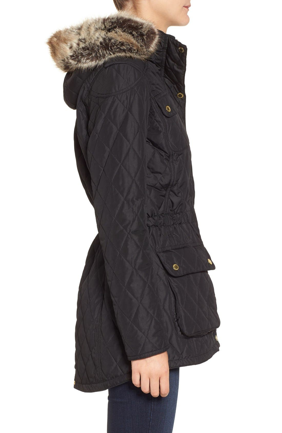 Alternate Image 3  - Barbour International Enduro Quilted Jacket with Faux Fur Trim Hood