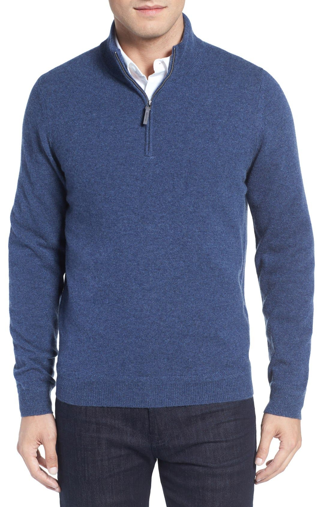 John W. Nordstrom® Quarter Zip Cashmere Sweater (Regular & Tall)