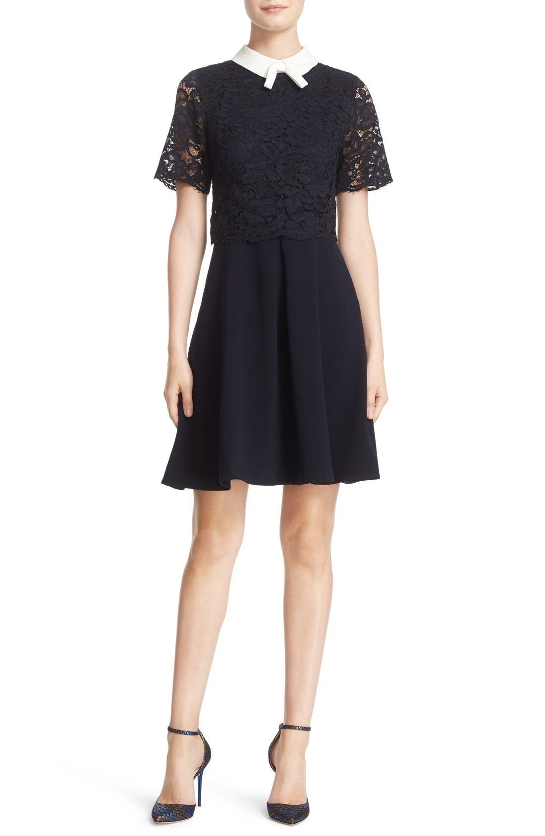 Alternate Image 1 Selected - Ted Baker London 'Dixxy' Contrast Trim Lace Bodice Fit & Flare Dress