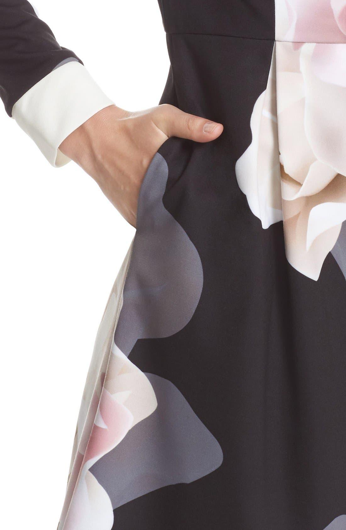 Alternate Image 4  - Ted Baker London Porcelain Rose Print Contrast Trim Fit & Flare Dress