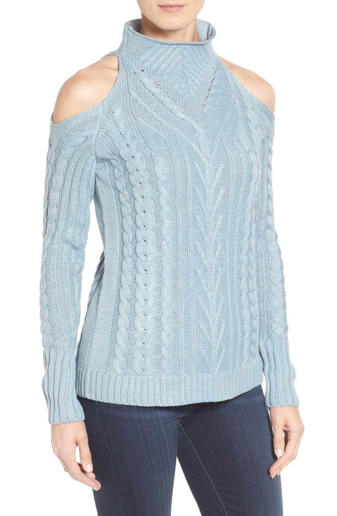 Main Image - RD Style Cold Shoulder Cable Knit Sweater