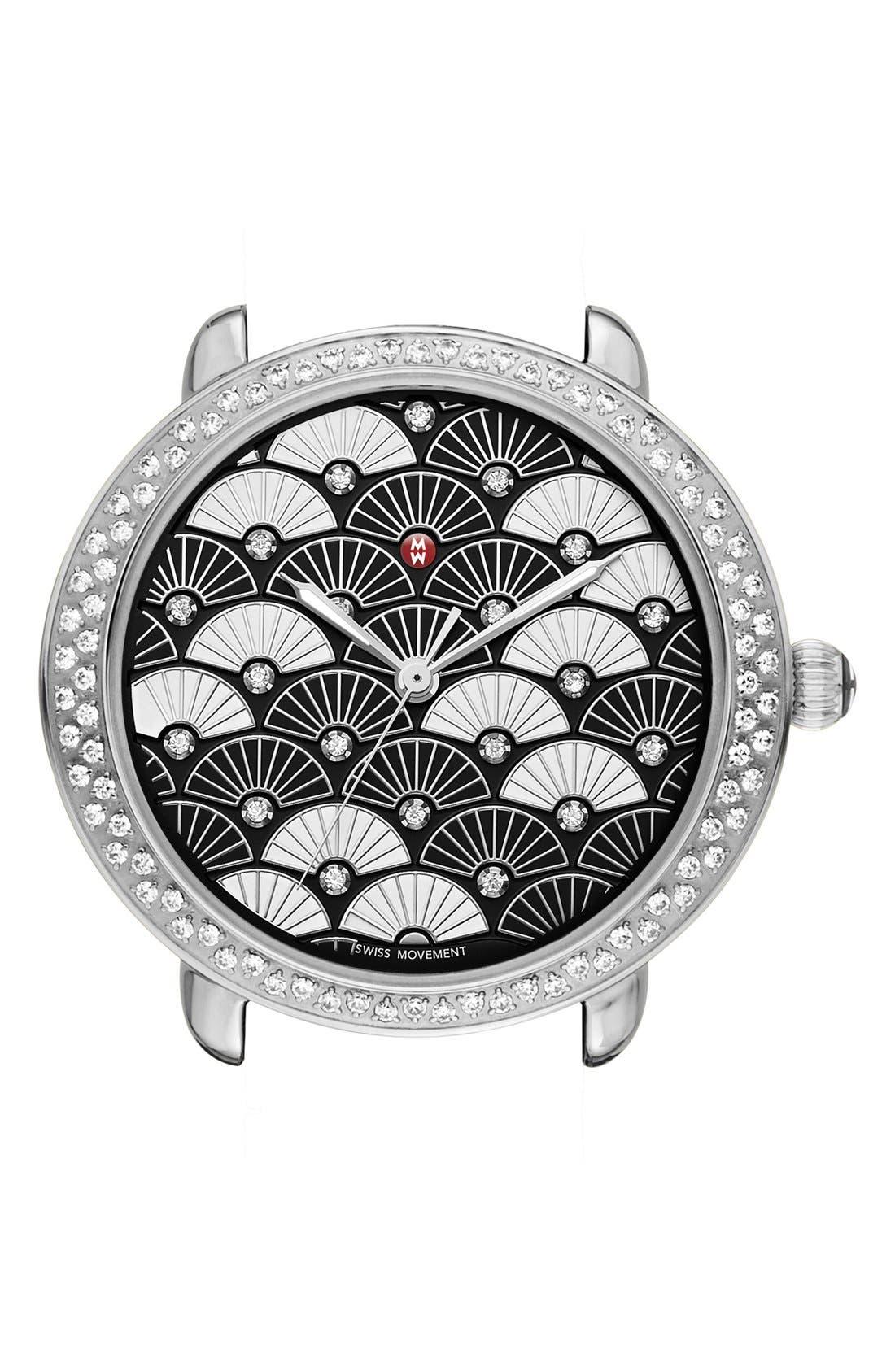 MICHELE Serein 16 Diamond Diamond Fan Mosaic Watch Case, 34mm x 36mm
