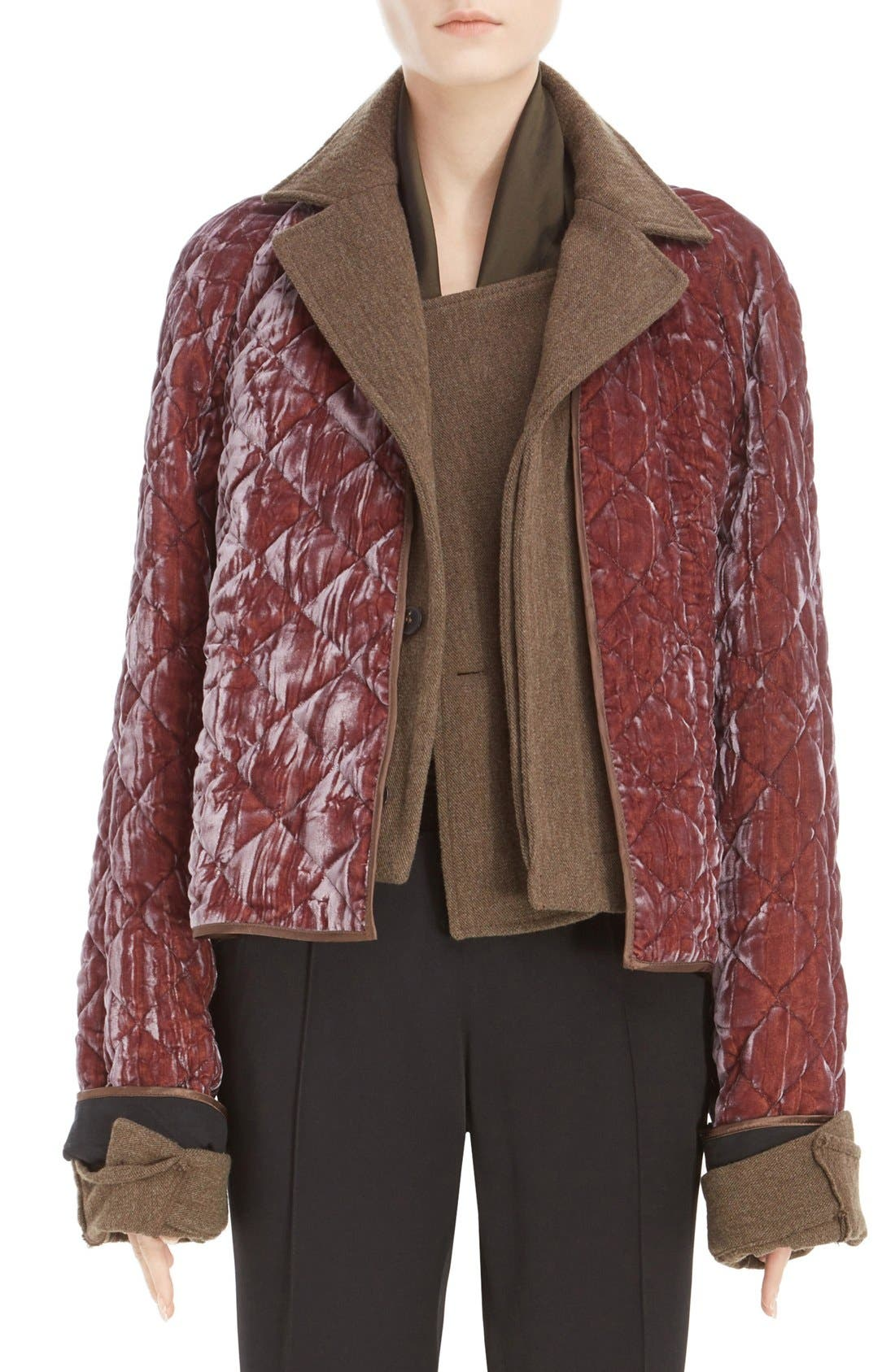 Alternate Image 1 Selected - Haider Ackermann Contrast Detail Quilted Velvet Bomber Jacket