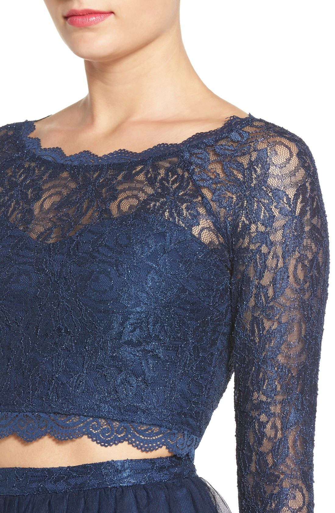 Alternate Image 4  - Sequin Hearts Long Sleeve Lace Two-Piece Skater Dress