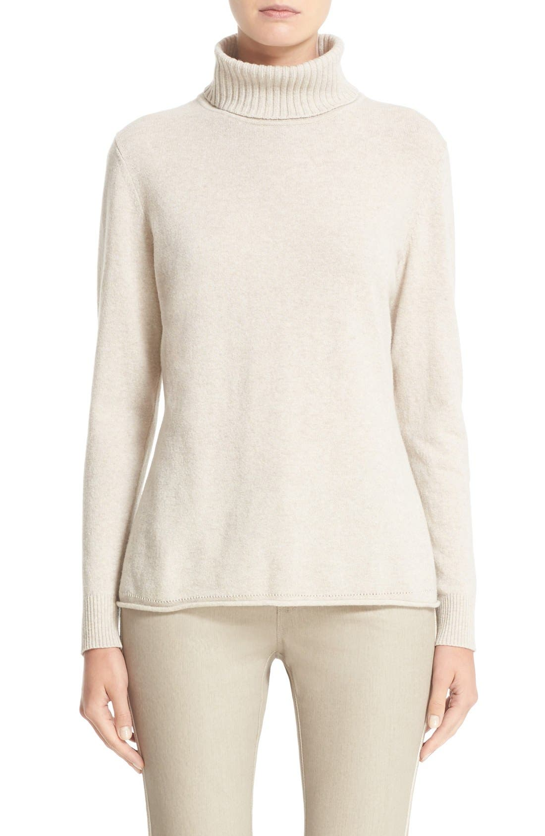 Alternate Image 1 Selected - Lafayette 148 New York Wool & Cashmere Turtleneck Sweater