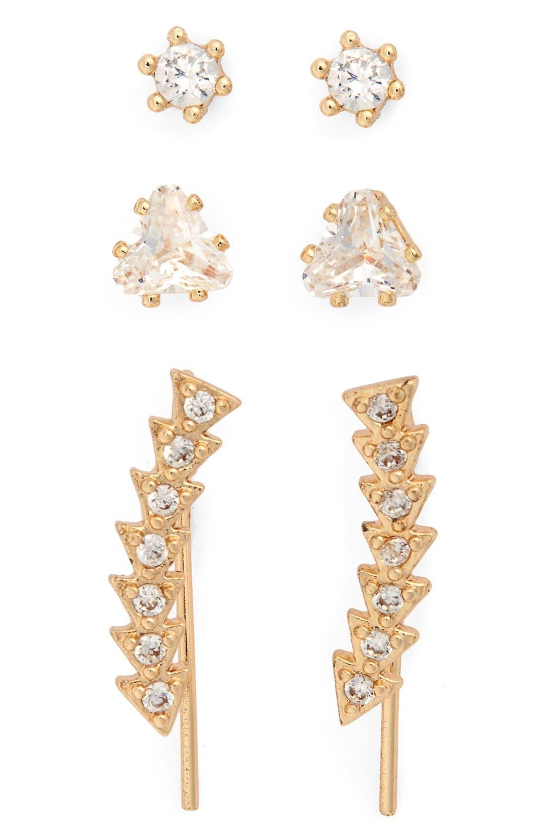 Main Image - Loren Olivia Crystal Stud Earrings & Ear Crawlers (Set of 3)