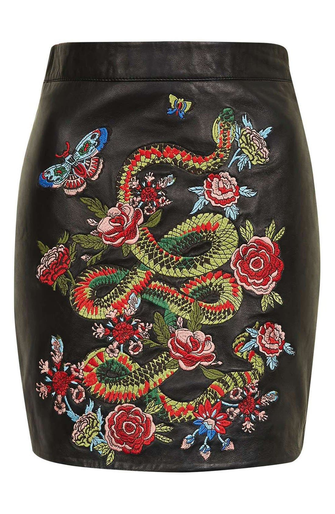 Alternate Image 4  - Topshop Snake Embroidered Leather Miniskirt