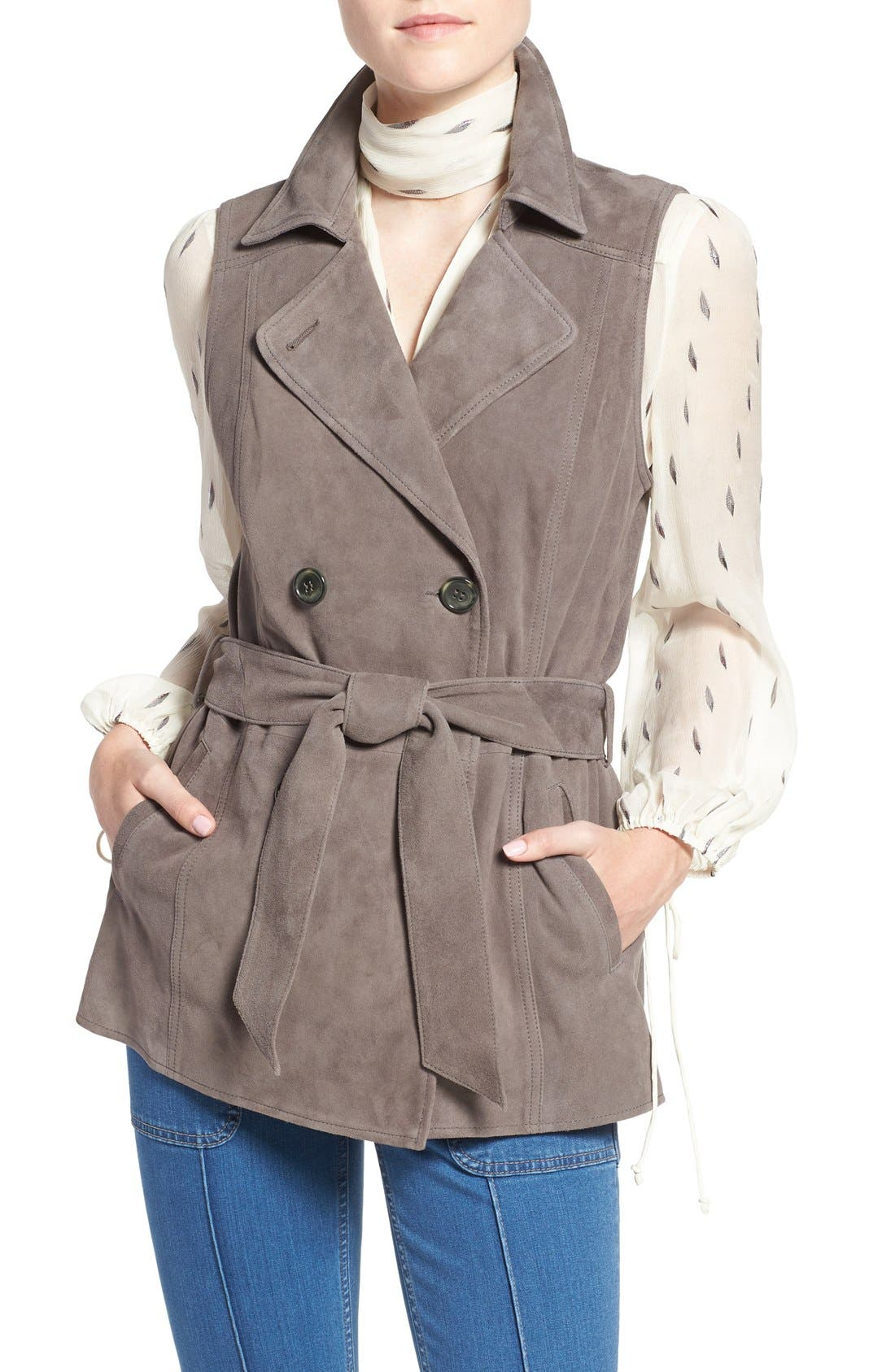 Alternate Image 5  - Olivia Palermo + Chelsea28 Suede Trench Vest with Removable Cape