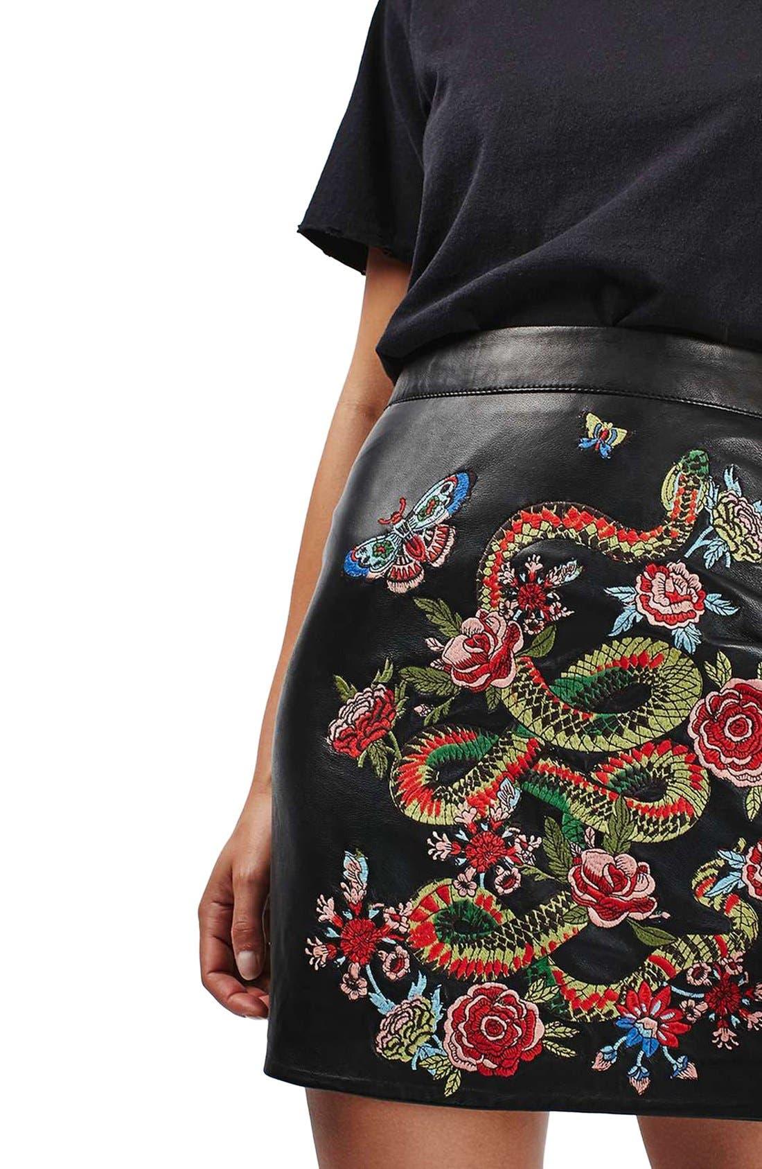 Alternate Image 5  - Topshop Snake Embroidered Leather Miniskirt