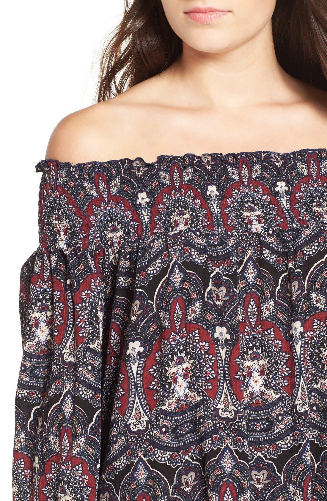 Alternate Image 4  - Band of Gypsies Floral Print Off the Shoulder Shift Dress