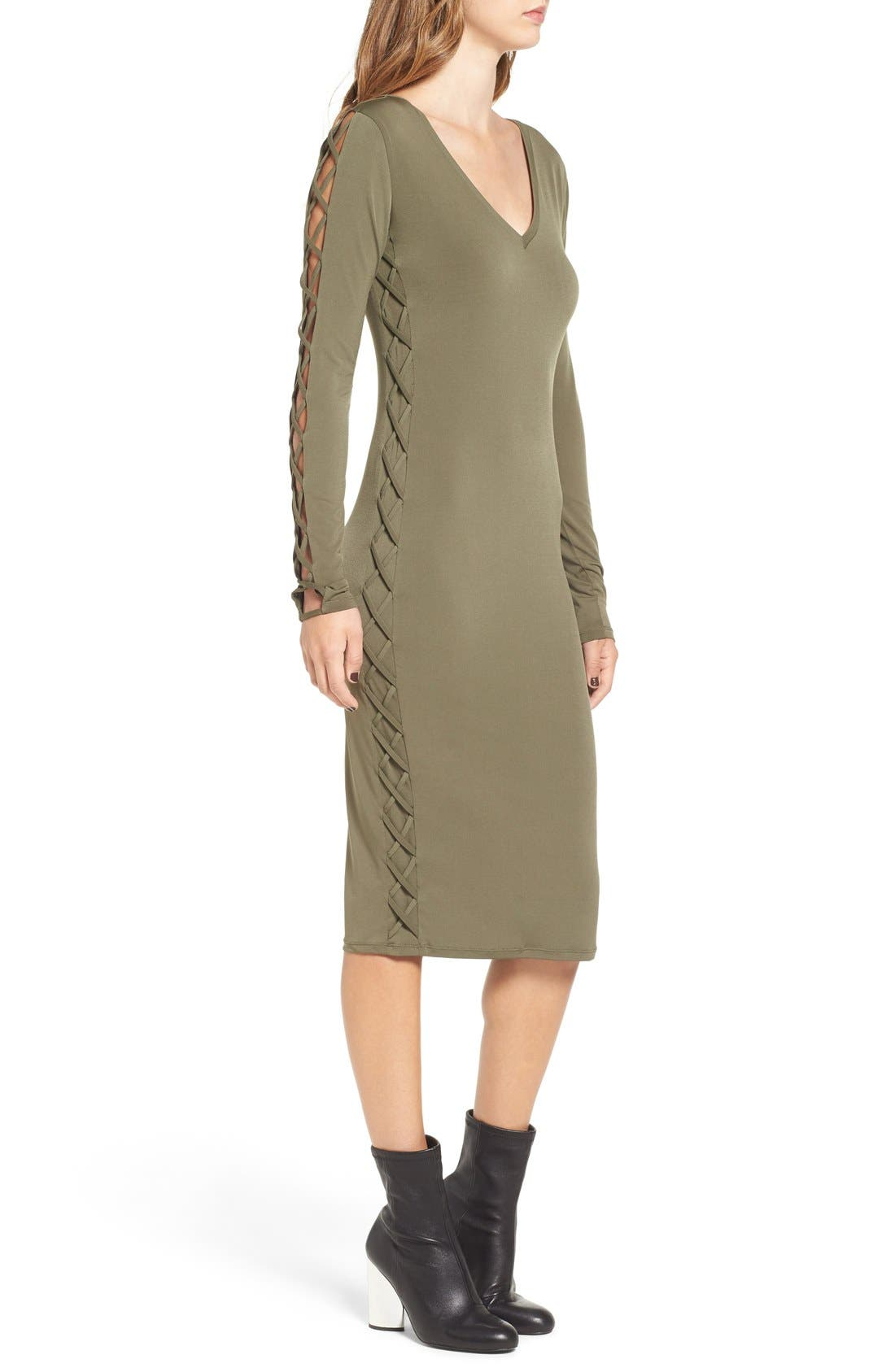 Alternate Image 3  - Leith Lace-Up Long Sleeve Body-Con Dress