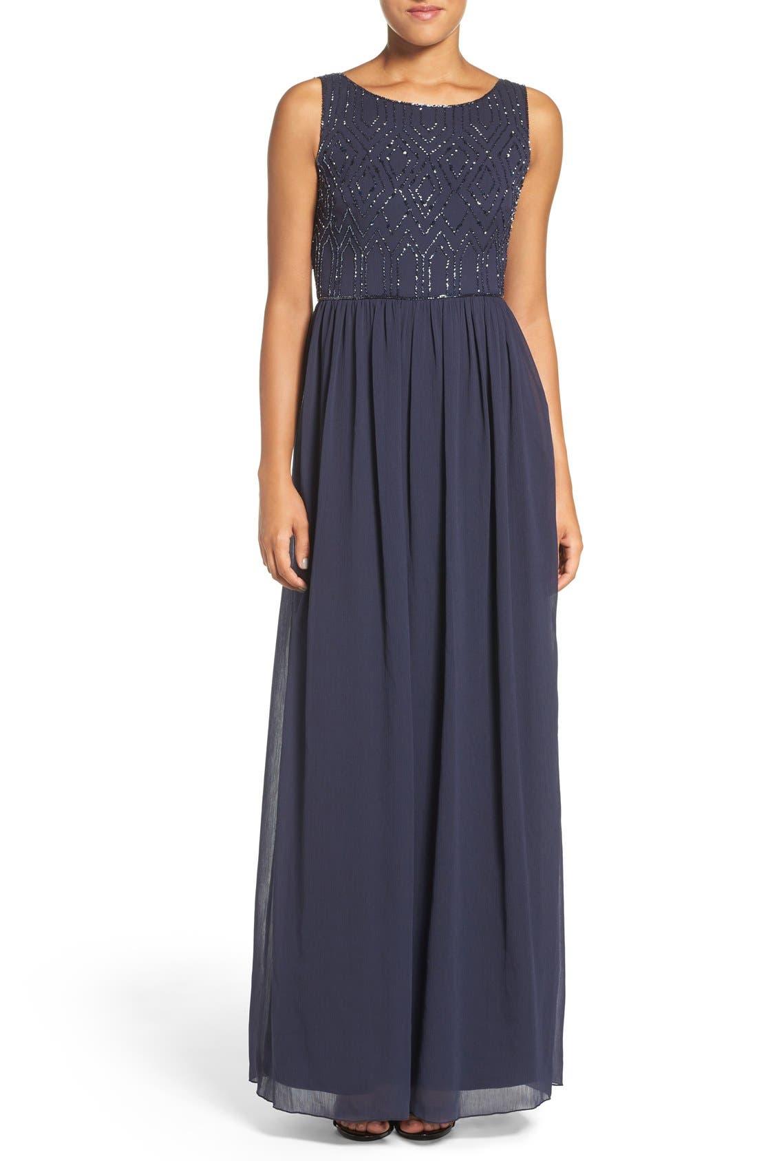 Alternate Image 1 Selected - Adrianna Papell Embellished Bodice Sleeveless Chiffon Gown