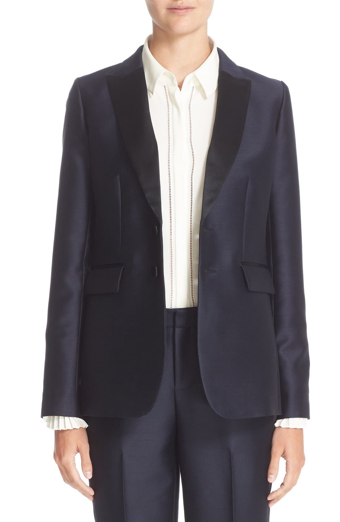 Alternate Image 1  - Nordstrom Signature and Caroline Issa Silk Trim Tuxedo Jacket