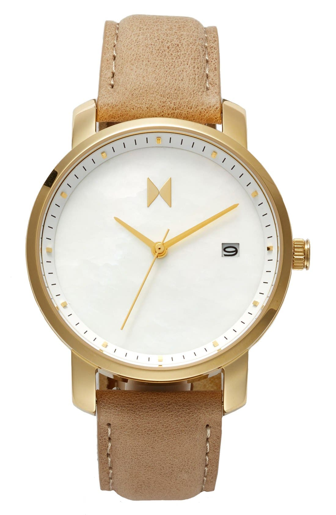 MVMT Leather Strap Watch, 38mm