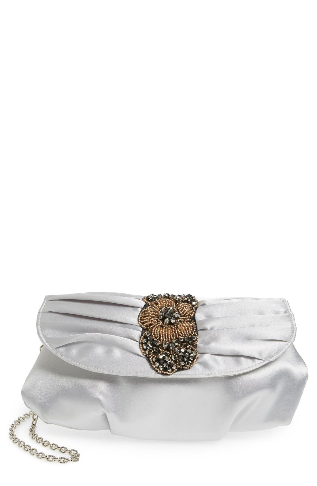 Menbur Bead & Crystal Embellished Satin Clutch