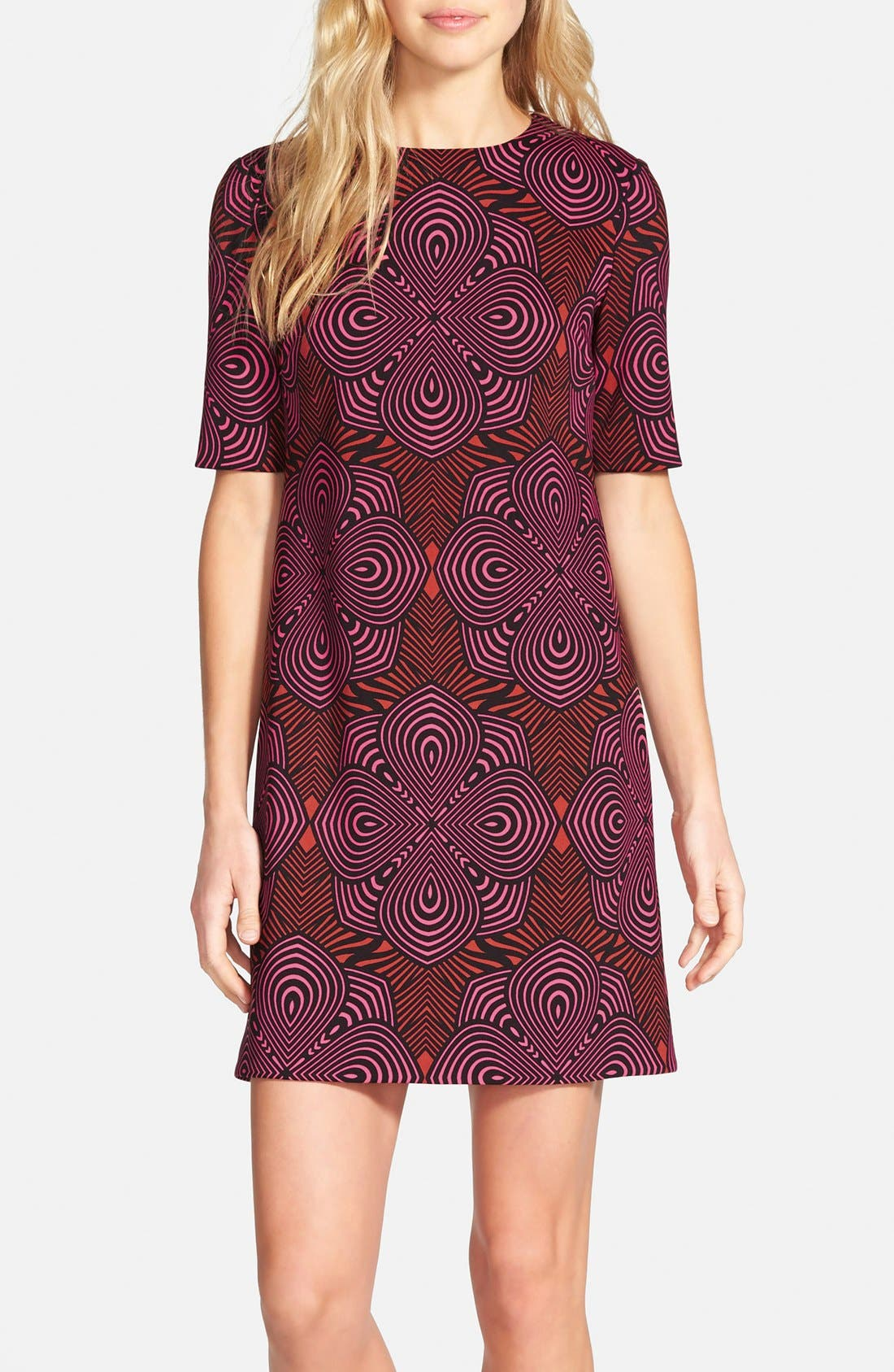 Alternate Image 1 Selected - Taylor Dresses Graphic Print Scuba Shift Dress (Online Only)