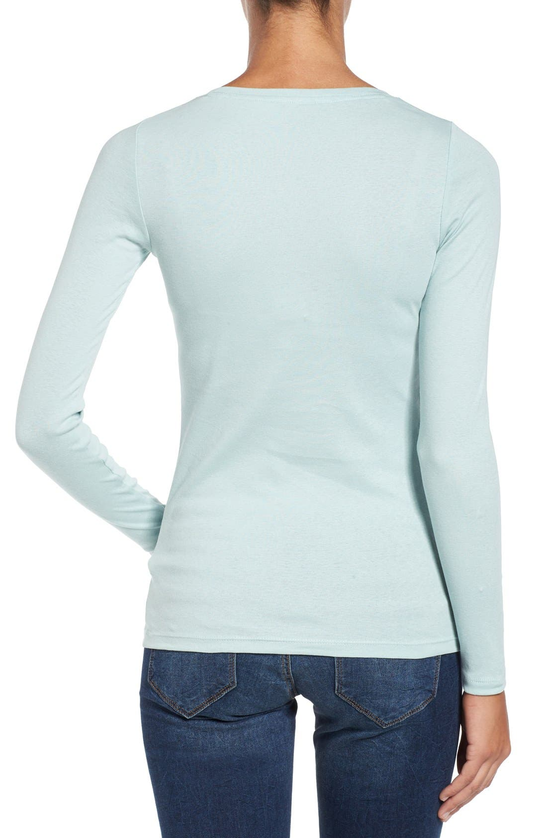 Alternate Image 2  - Caslon® Long Sleeve Scoop Neck Cotton Tee (Regular & Petite)