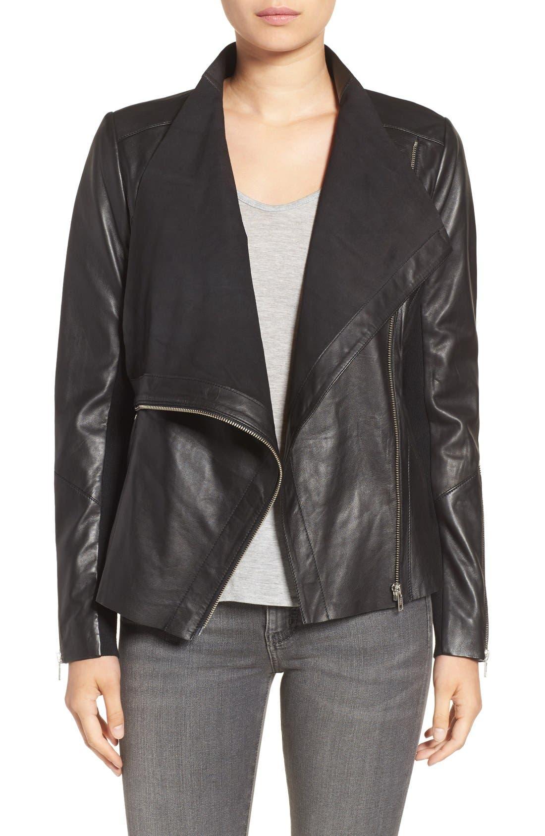 Trouvé Drape Front Raw Edge Leather Jacket