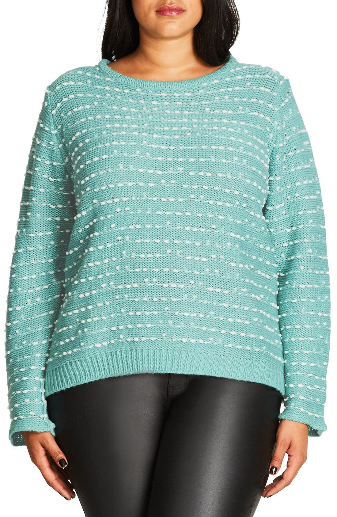 City Chic Back Zip Color Pop Sweater (Plus Size)