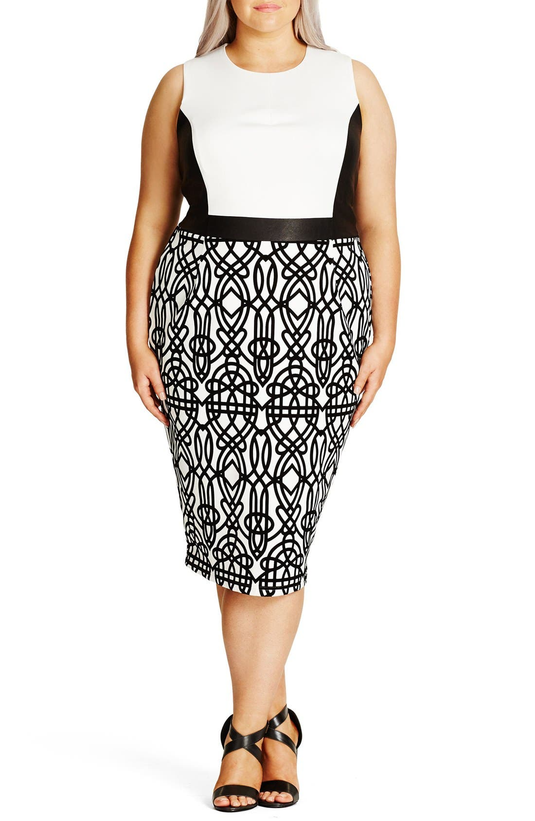CITY CHIC 'Art Deco' Print Block Sheath Dress