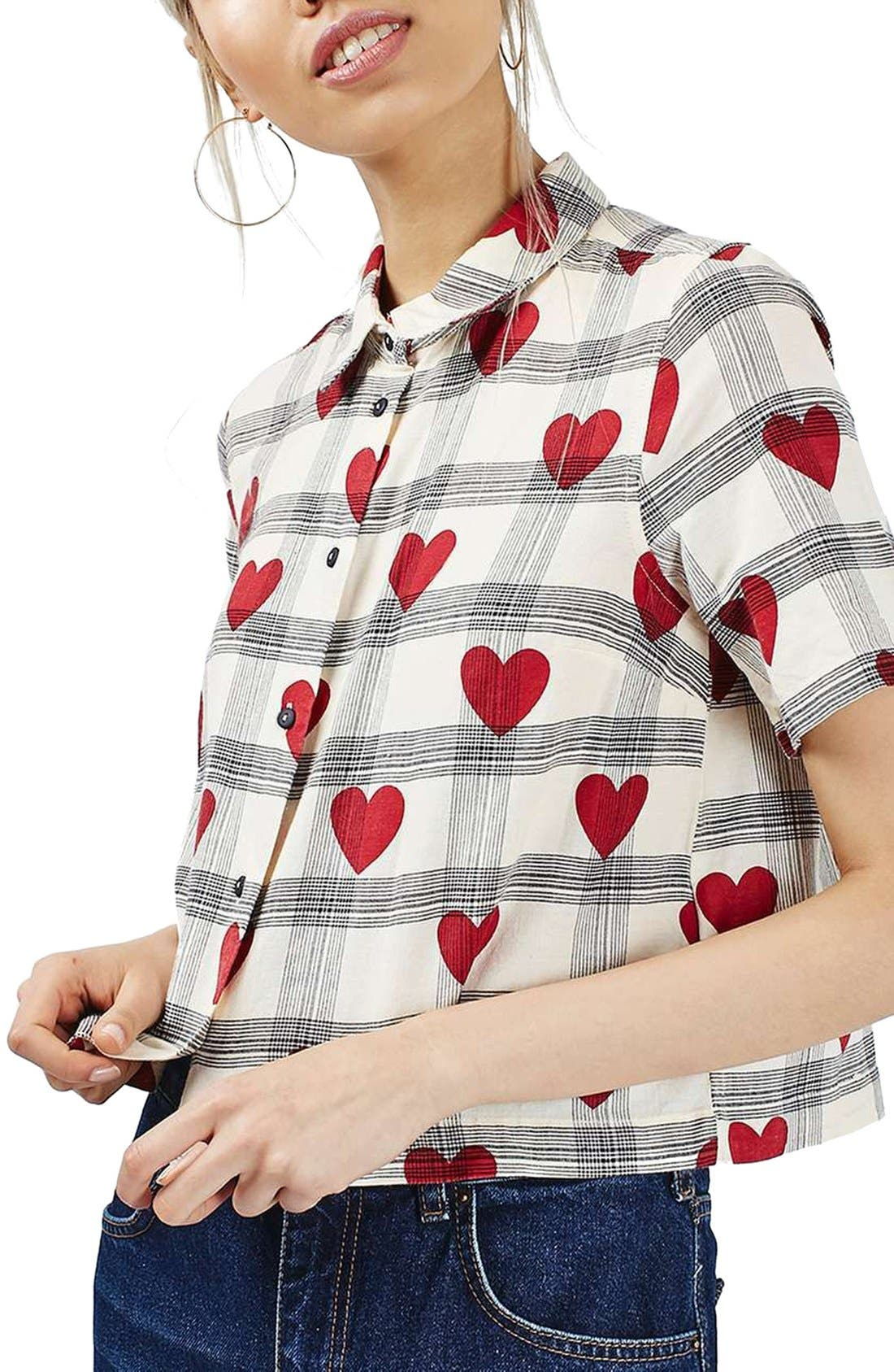 Alternate Image 1 Selected - Topshop Heart Check Crop Shirt
