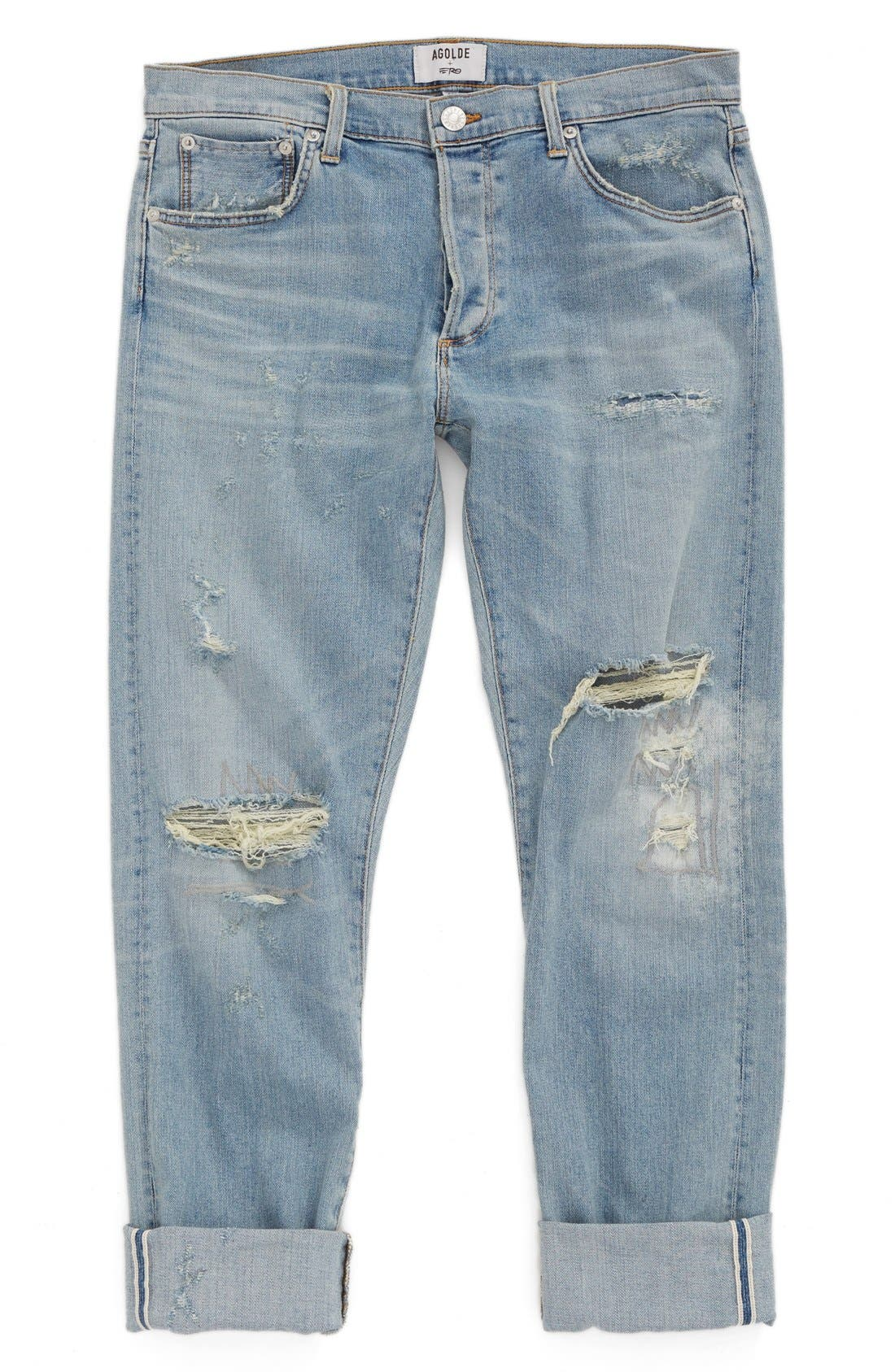 Alternate Image 1 Selected - AGOLDE Skinny Fit Distressed Jeans (Pixx) (Men)