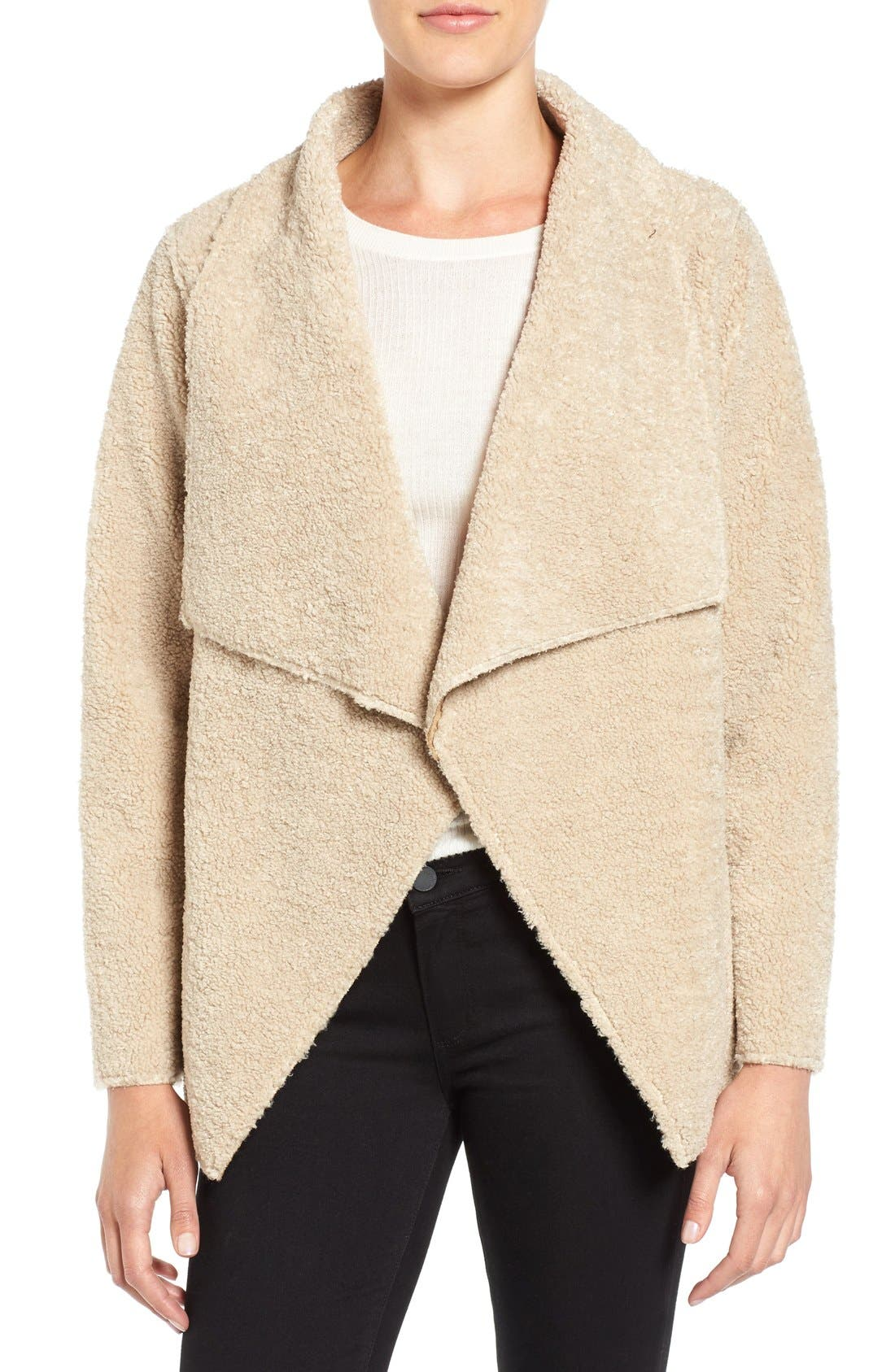 Main Image - Velvet by Graham & Spencer 'Lux' Reversible Faux Shearling Drape Front Jacket