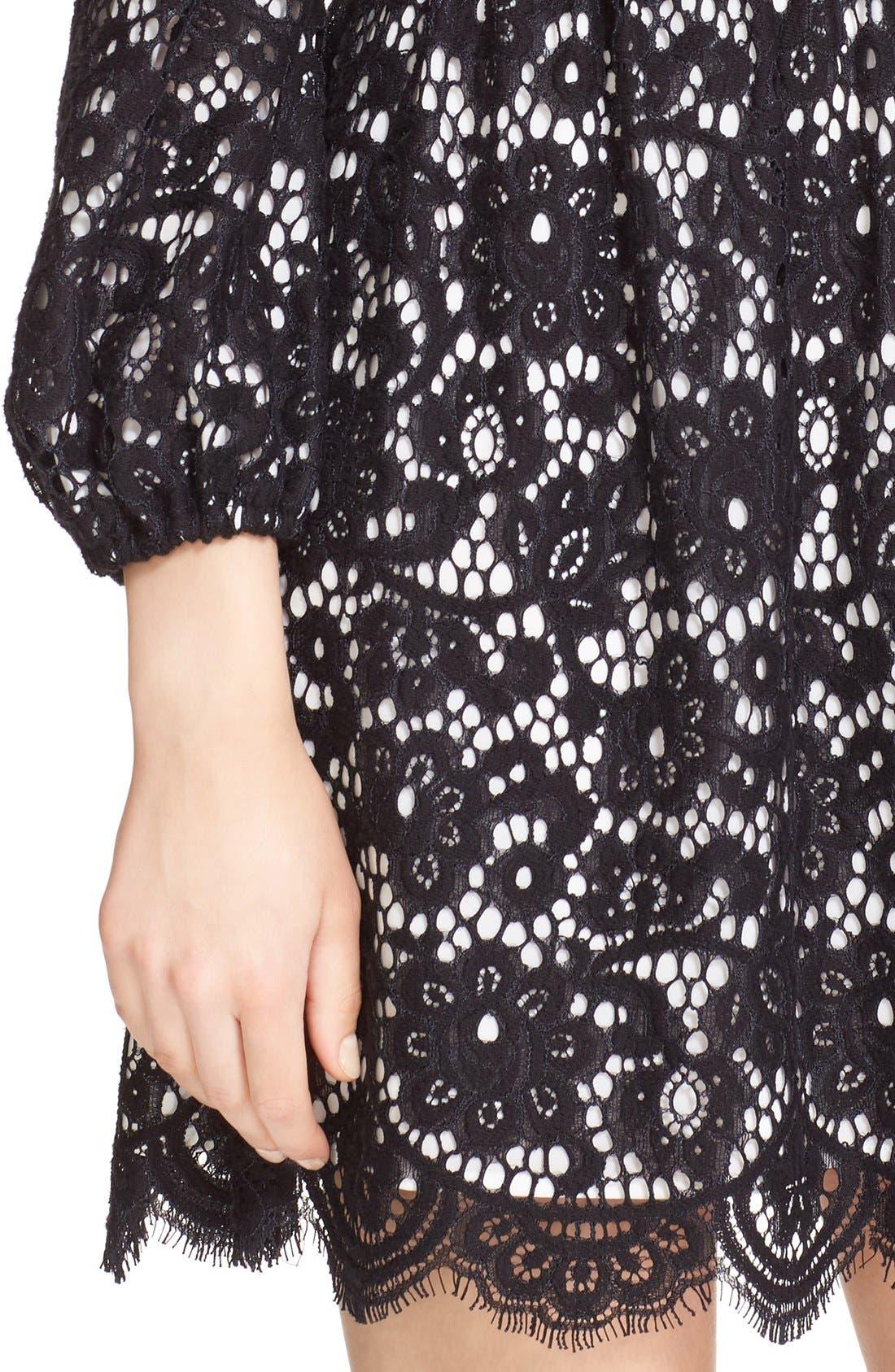 Alternate Image 4  - Alice + Olivia 'Terisa' Collared Blouson Sleeve Lace Dress
