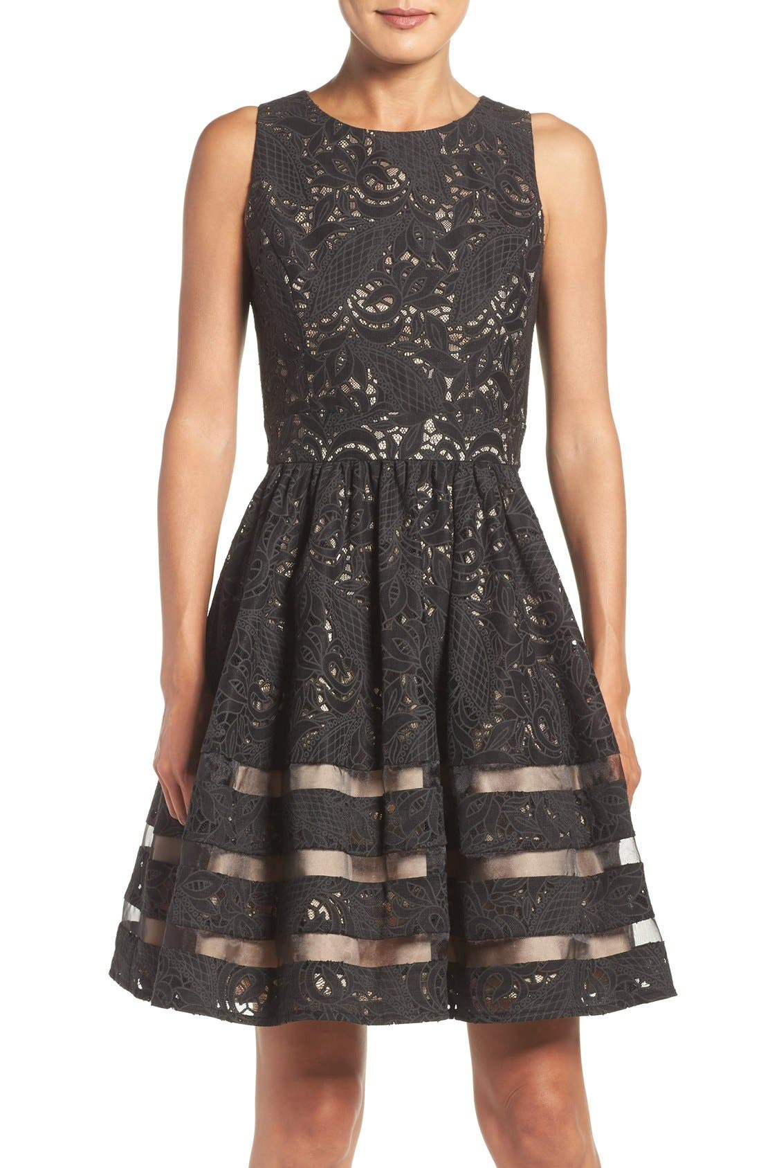 Main Image - Eliza J Cotton Blend Fit & Flare Dress (Regular & Petite)