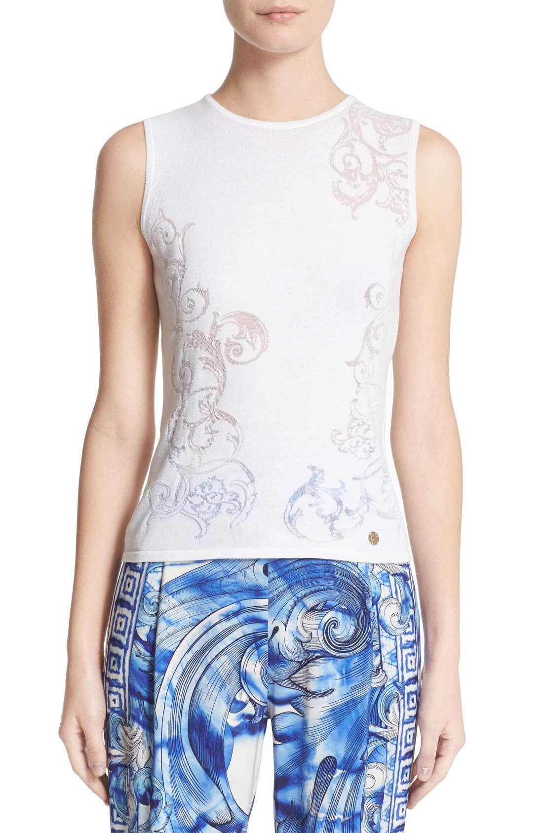 Alternate Image 1 Selected - Versace Burnout Knit Shell