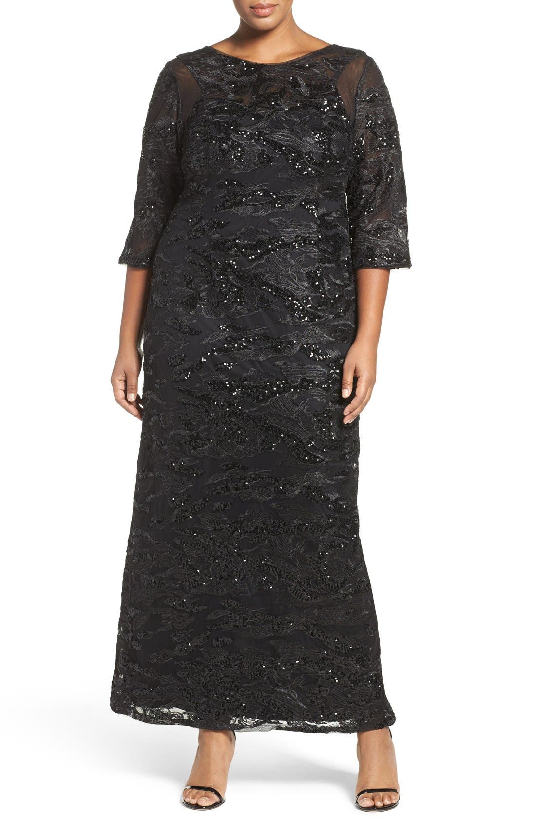 Brianna Sequin Embroidered Illusion Sleeve Gown (Plus Size)