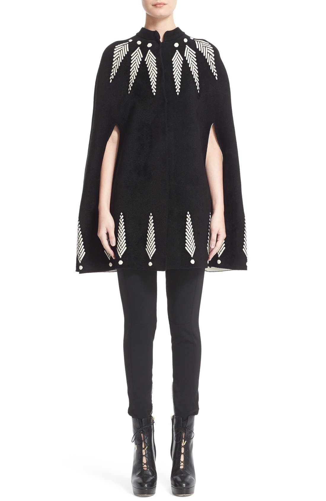 Alternate Image 1  - Alexander McQueen Feather Knit Cape