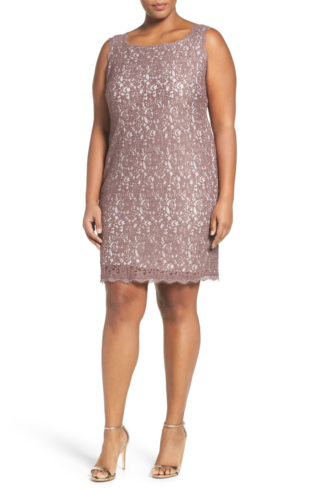 Alternate Image 4  - Adrianna Papell Sleeveless Lace Sheath Dress (Plus Size)