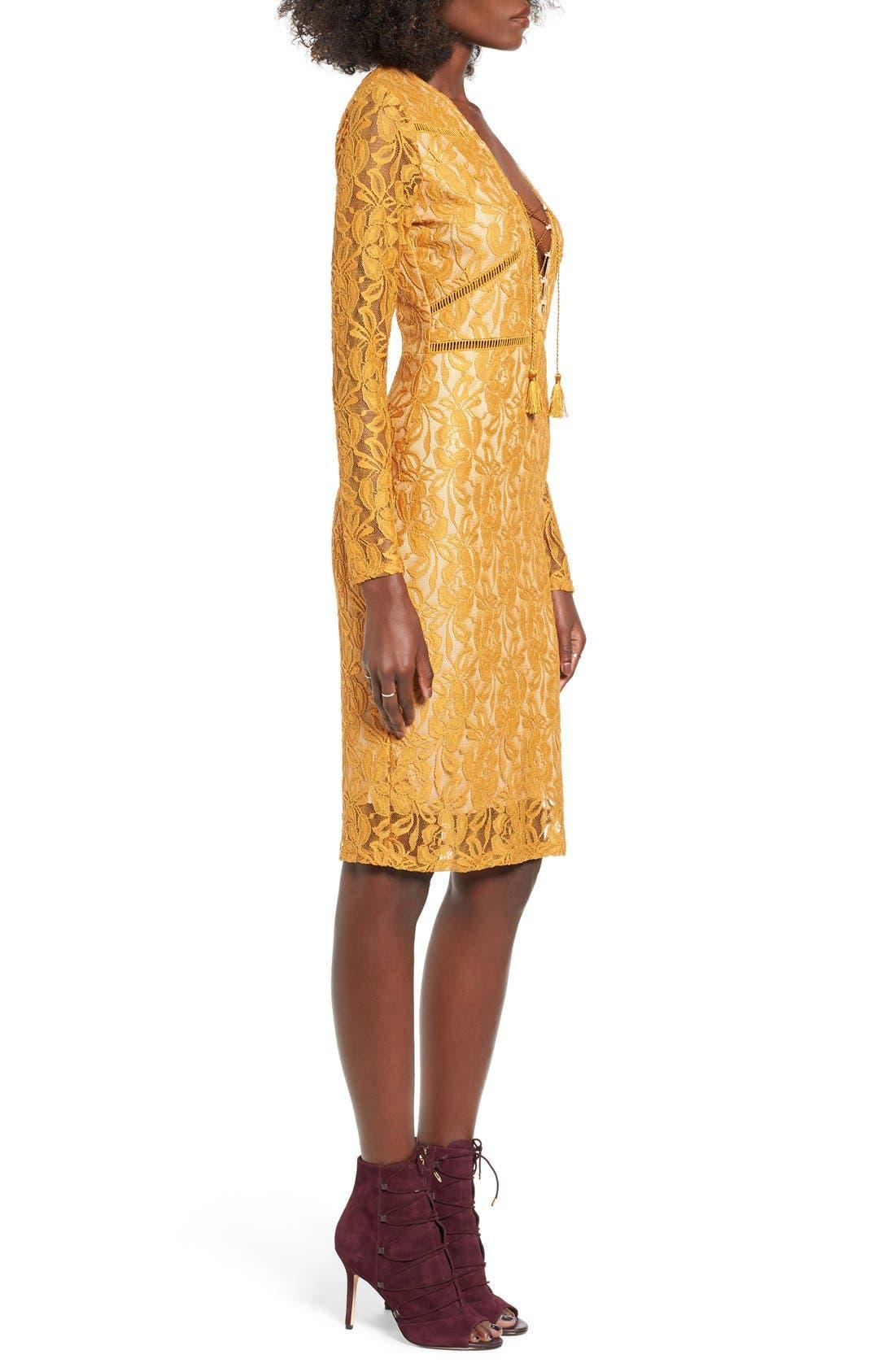 Alternate Image 3  - Love, Fire Lace-Up Body-Con Dress