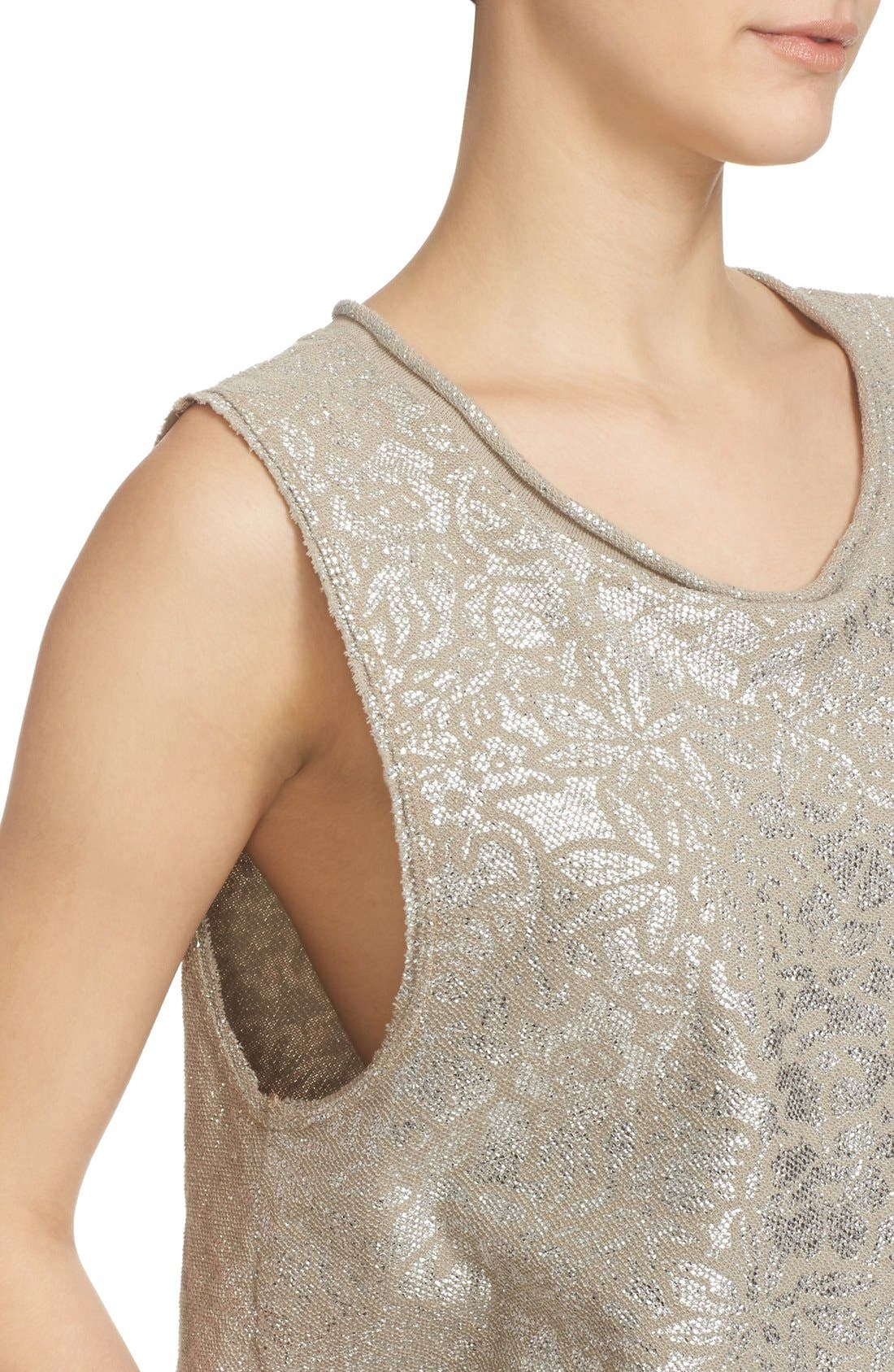 Alternate Image 5  - Free People Casual Fancy Metallic Top