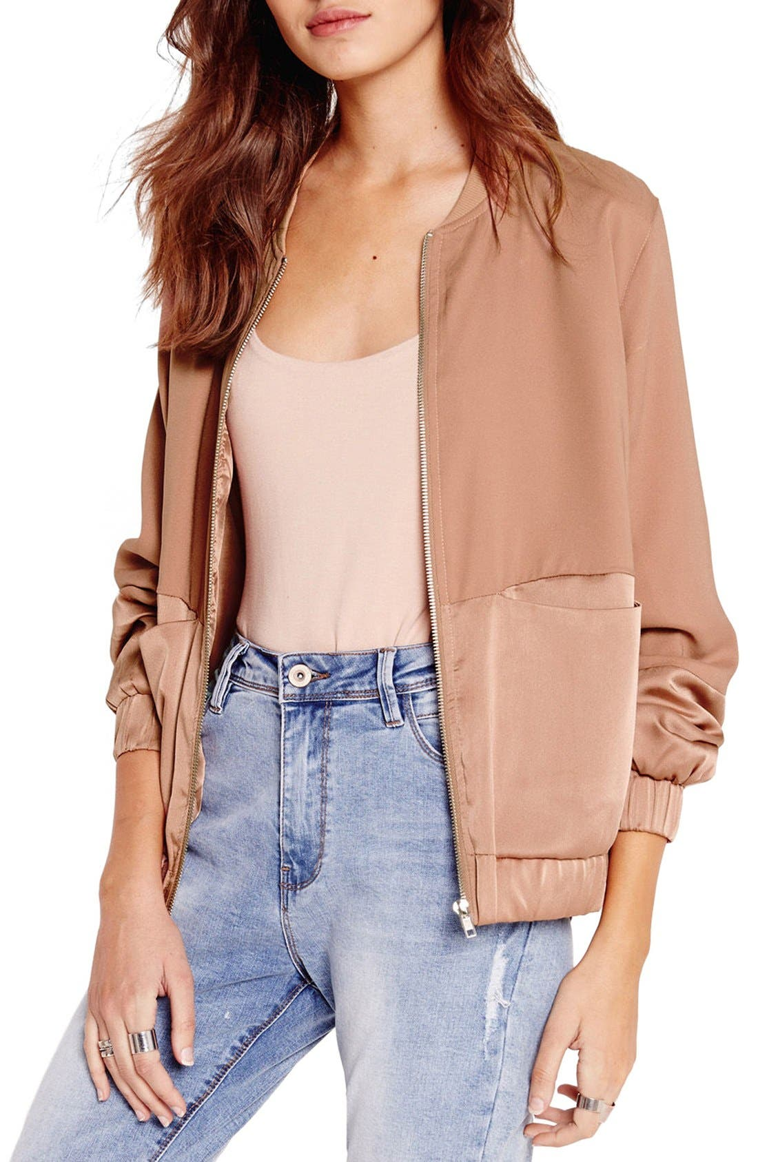 Alternate Image 1 Selected - Missguided Tonal Satin Bomber Jacket
