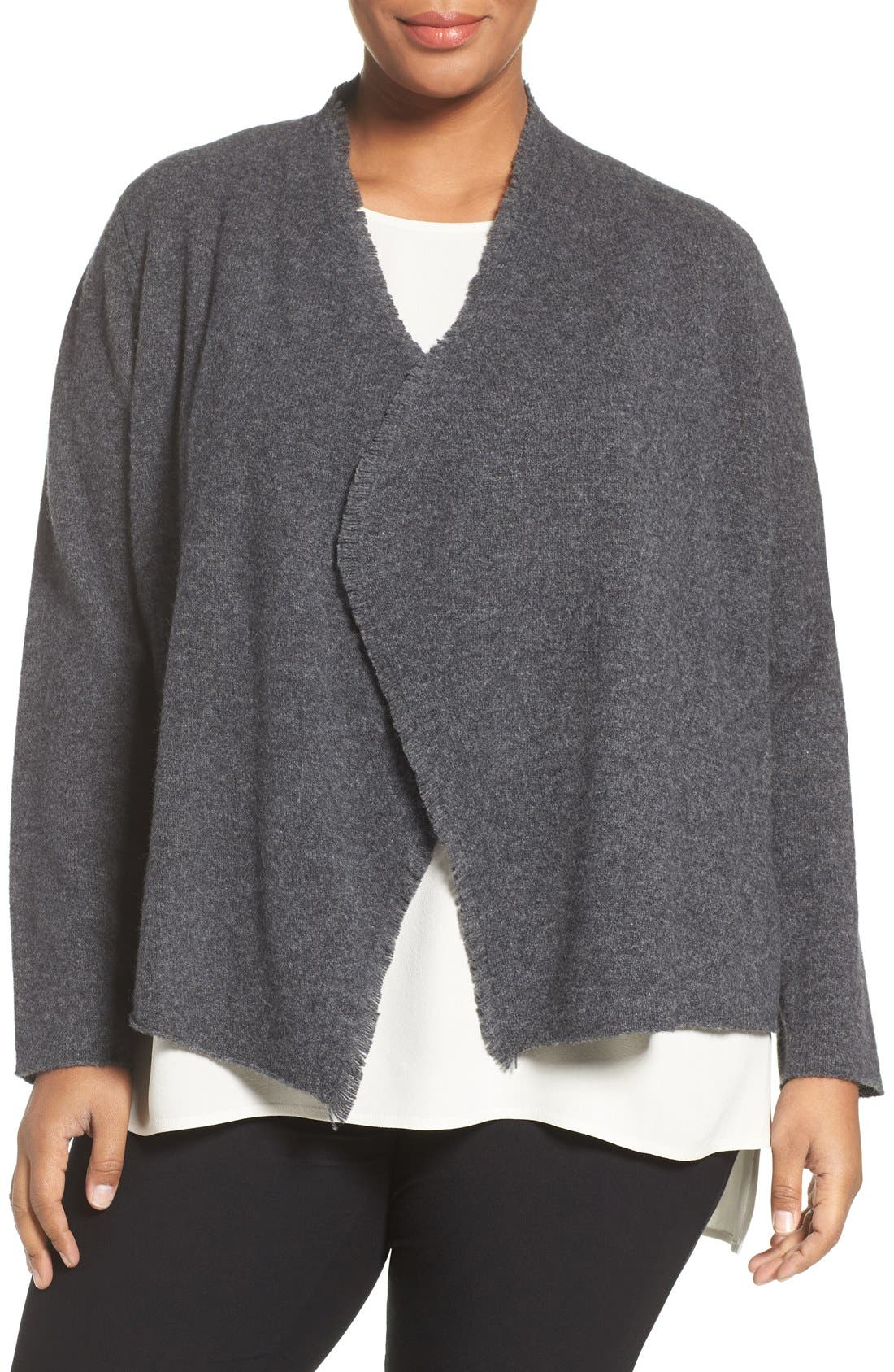 Alternate Image 1 Selected - Eileen Fisher Felted Merino Sweater Jacket (Plus Size)