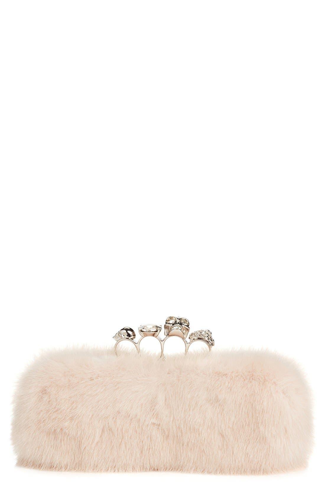 Main Image - Alexander McQueen Knuckle Clasp Genuine Mink Fur Box Clutch