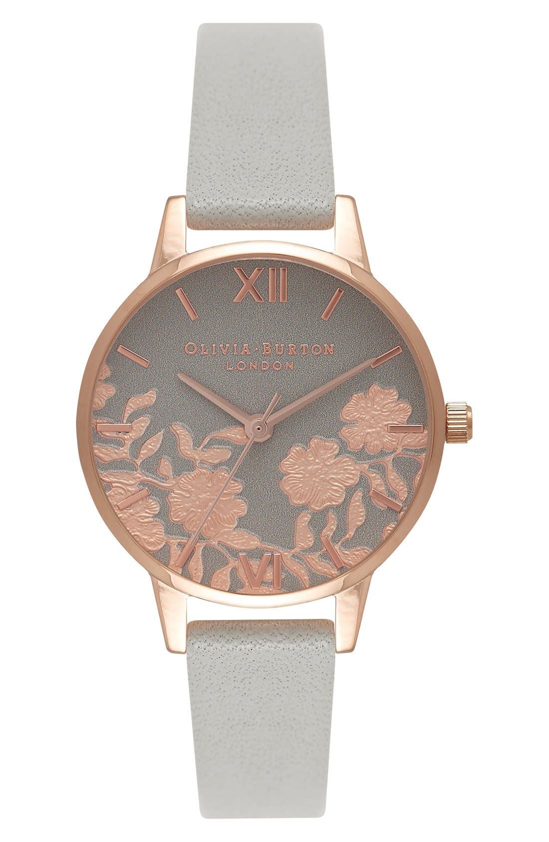 Main Image - Olivia Burton Lace Detail Leather Strap Watch, 30mm