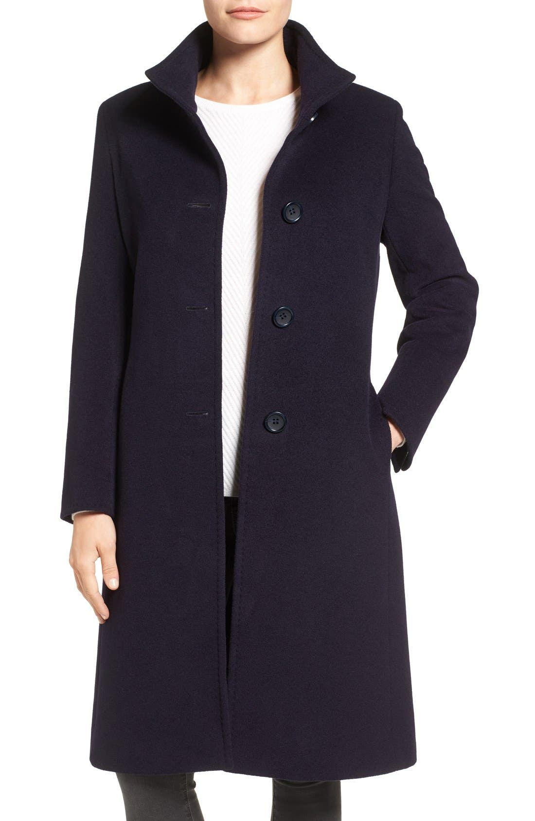 Main Image - Cinzia Rocca Icons Stand Collar Wool Blend Walking Coat