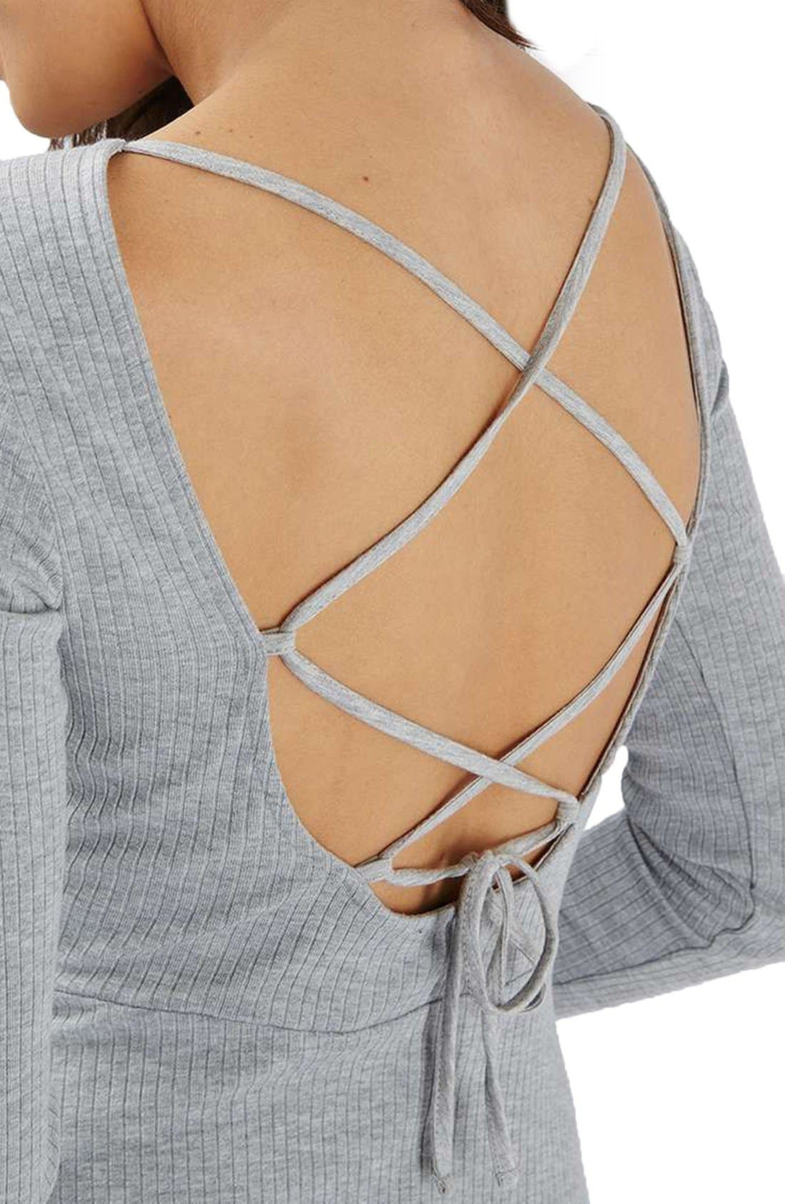 Alternate Image 5  - Topshop Lace-Up Back Skater Dress