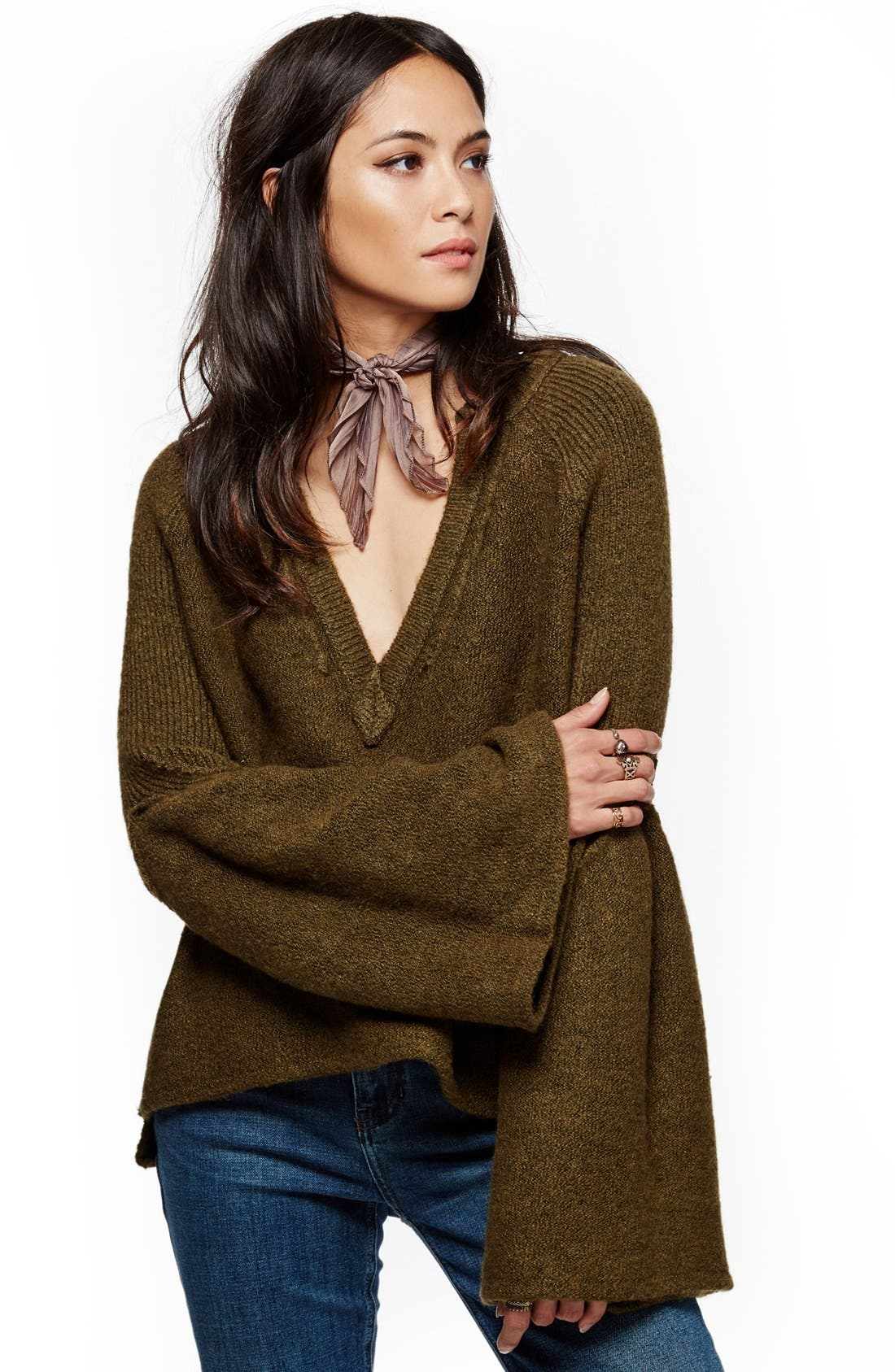 Alternate Image 7  - Free People Lovely Lines Bell Sleeve Sweater